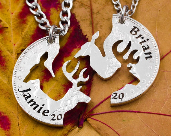 Buck and Doe with Engraved Names and 4-Year Date, Wedding Anniversary Jewelry, Marriage Gift, Hand Cut Coin