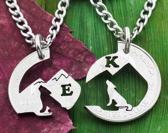 Mountain Wolves Howling, Custom Cut Initials, BFF Necklaces, His and Hers Couples Jewelry, Hand Cut Coin