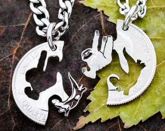 Sloth and Otter Friendship Necklaces, Best Friends and Couples Jewelry, Hanging Sloths in a Tree, Relationship Jewelry