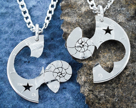 Nautilus Shell Necklaces with Star, Friendship Jewelry, BFF Gift, Sea Life, Hand Cut Coin