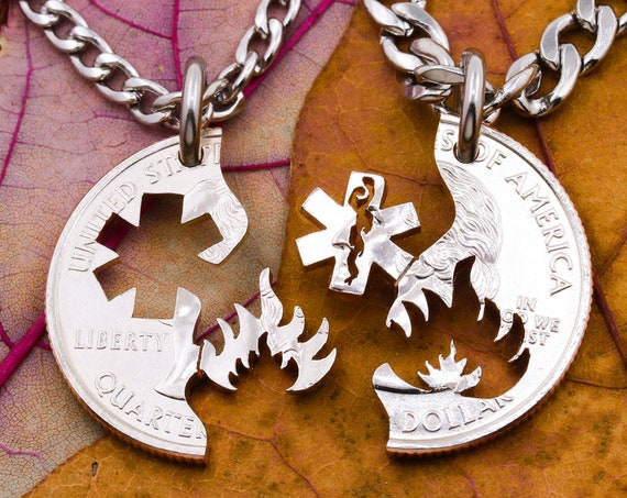 Medical and Firefighter Couples Necklaces, Best Friends Gifts, 24/7 Working Professions, Hand Cut Coin