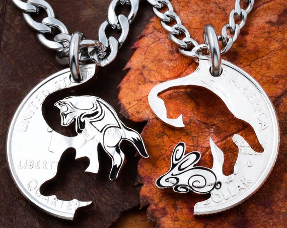 Fox and Rabbit Necklaces, Couples and Best Friends Jewelry, Bunny, BFF Gifts, Interlocking Puzzle Set, Hand Cut Coin