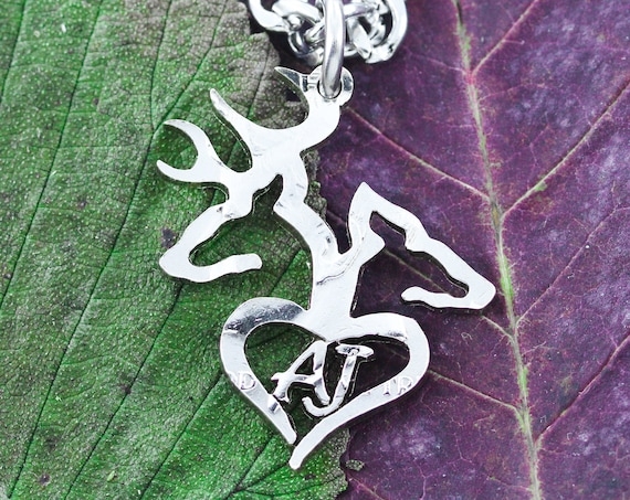 Buck and Doe Heart Initial Necklace, Family Jewelry, Mom and Dad Gift, Hand Cut Coin