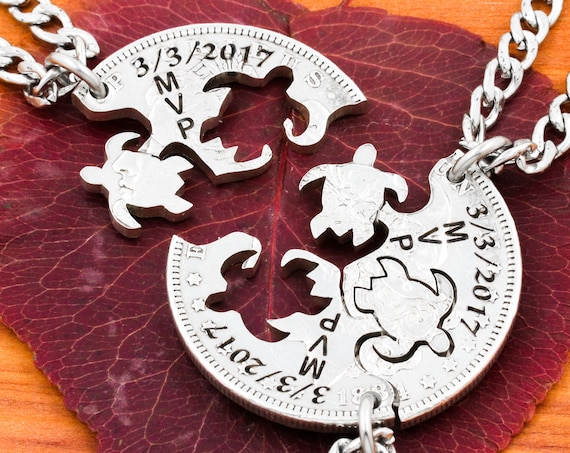 3 Piece Turtle Necklaces with Custom Dates and Initials, Family Jewelry, Interlocking Hand Cut Coin