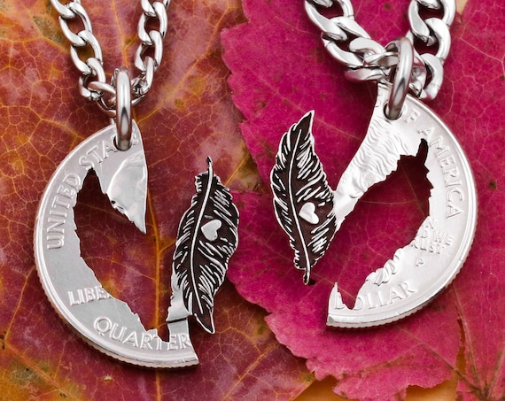 Feathers with Engraved Hearts, Necklaces for Couples, Hand Cut Coin