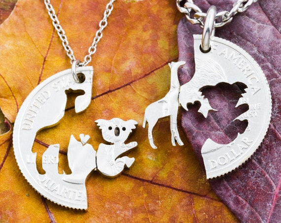Giraffe and Koala Couples Necklaces, Interlocking Heart Set, Best Friend Gifts, Animal Love Jewelry, Hand Cut Coin