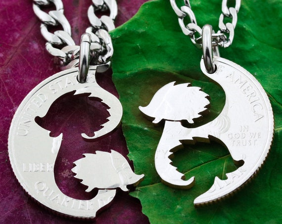Best Friend Hedgehog Necklaces, BFF Gift, Interlocking like a puzzle Hand Cut Coin