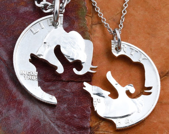Elephant and Wolf Couples Necklaces, Friendship Gifts, Interlocking Like a Puzzle Jewelry Set, Hand Cut From A Coin