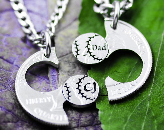 Baseball Necklaces for Father and Son or Daughter With Custom Initials, Softball Gift, Sports Jewelry, Hand Cut Coin
