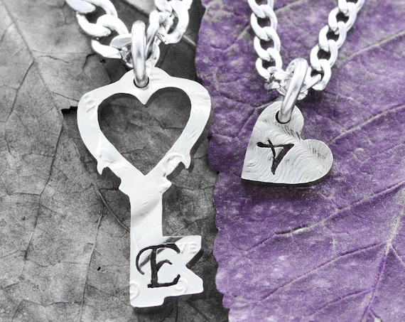 Key With Cut Out Heart Necklaces, Custom Cut Initials, Inside and Outside Pieces, Couples His and Her Jewelry, Hand Cut Coin