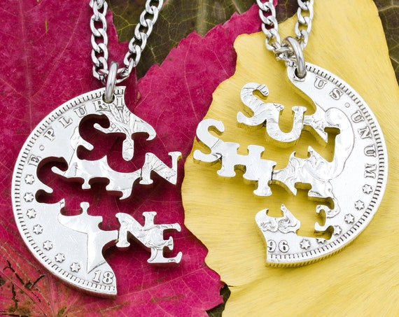 SunShine Necklaces, BFF or Couples Jewelry, Letters and Words, Interlocking Like a Puzzle, Hand Cut Coin