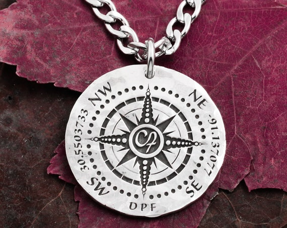 Customizable Silver Compass Necklace, Custom GPS Coordinates, and Initials Engraved into a Hammered Silver Coin