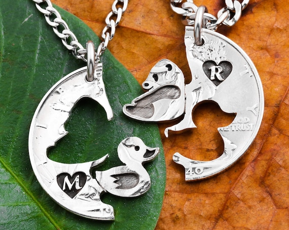 Baby Panda and Duck Best Friends Necklaces, Custom Initials Engraved in Heart, Friendship and Relationship Gift, BFF Gifts, Hand Cut Coin