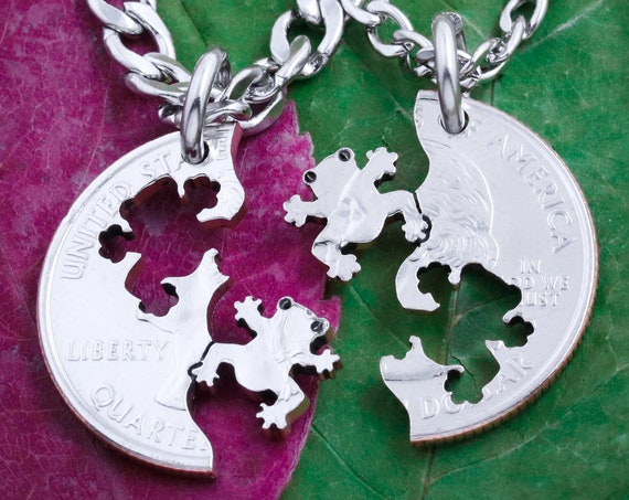 Toad BFF Jewelry, Friendship Necklaces, Best Friends Gifts, Interlocking Like A Puzzle, Animal Lovers Hand Cut Coin