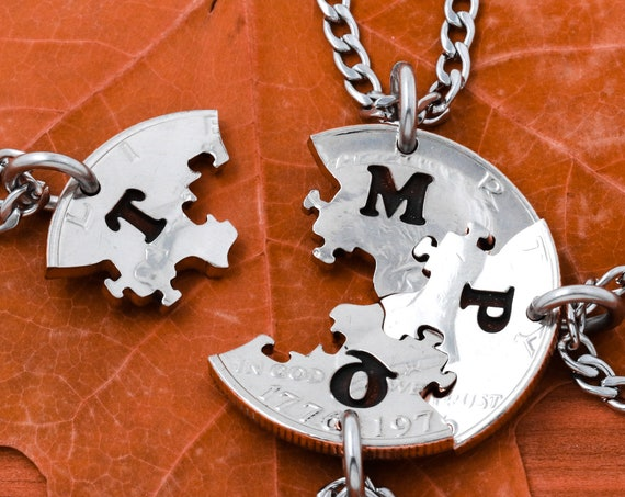 4 Puzzle Piece Necklace Set with Custom Initials, BFF Gifts, Jigsaw Pieces, Best Friends Gift, Interlocking Hand Cut Coin