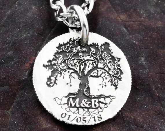 Silver Family Tree Necklace, Charm Pendant, Custom Initials and Date Engraved, Hammered and Engraved Silver or coin.