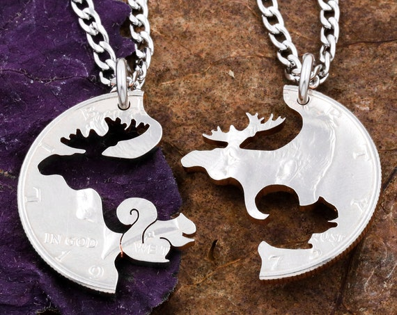 Moose and Squirrel Couples Necklaces, Animal Jewelry, His and Her Matching Jewelry, Hand Cut Coin