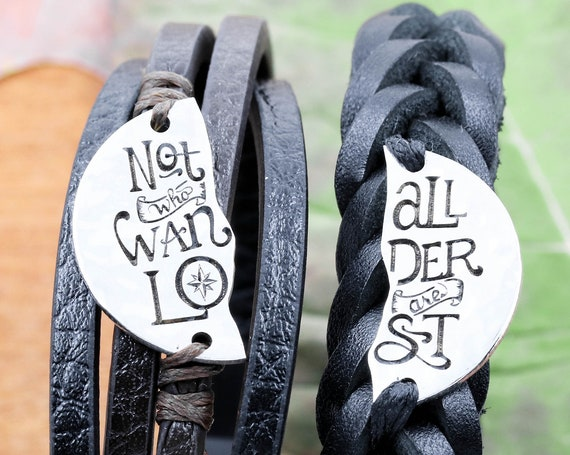 Not All Who Wander Are Lost Leather Bracelet, Best Friends Split Jewelry, Engraved Hammered Silver Coin, Hand Sewn and Woven, Quote Words