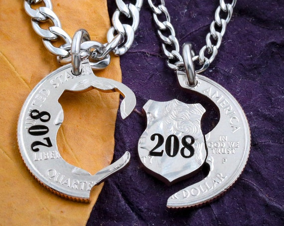 Police Officer Wife Gift Necklaces, Couples Badges Engraved, BFF Academy Hand cut coin jewelry