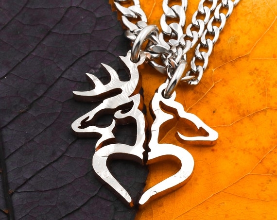 Buck and Doe Heart Couples Necklaces, Hunting Jewelry, Split Heart, Hand Cut Coin, Half Dollar