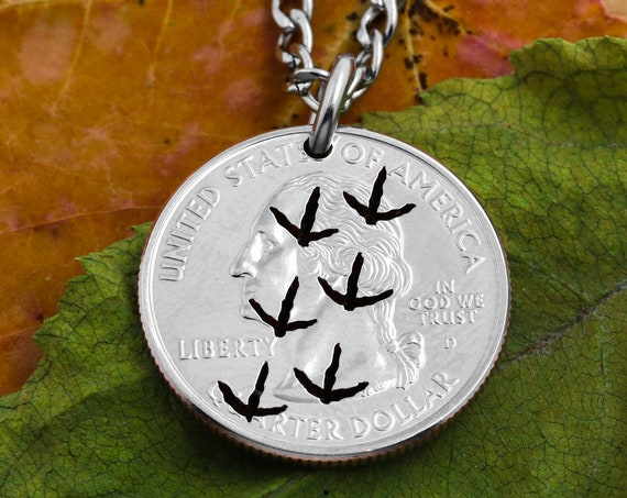 Tracks in the Dirt, Animal Foot Prints, Hunting Necklace, Bird Tracks, Men's Jewelry, Hand Cut Coin