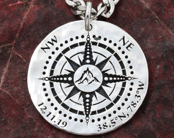 Silver Mountain Compass Necklace With Custom GPS Coordinates and Date, Engraved into a Hammered Silver Coin