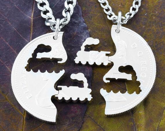 Steam Engine Interlocking Necklace, Steampunk Necklace, Trains Friends, Hand Cut Coin