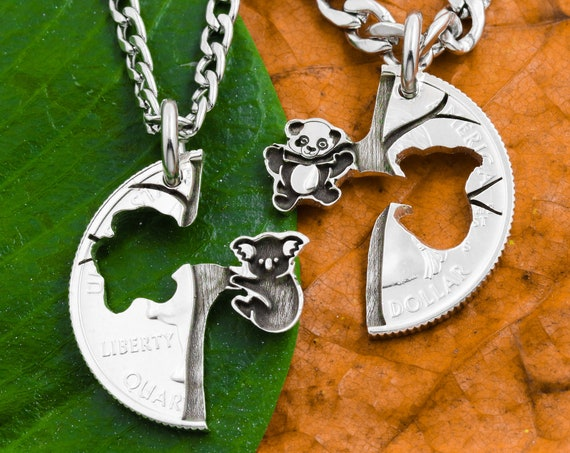 Baby Panda and Koala Friendship Necklaces, Best Friends and BFF Gifts, Swinging Tree Animal Jewelry, Hand Cut and Engraved Coin