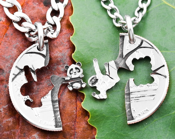 Panda and Sloth Friendship Necklaces, Interlocking Engraved Necklaces, Hanging Tree Friends, Best Friend Gift, Animal Jewelry, Hand Cut Coin