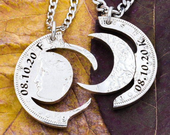 Moon Necklaces with Custom Engraved Dates and Initials, Best Friends or Couples Gifts, BFF, Interlocking Hand Cut Coin