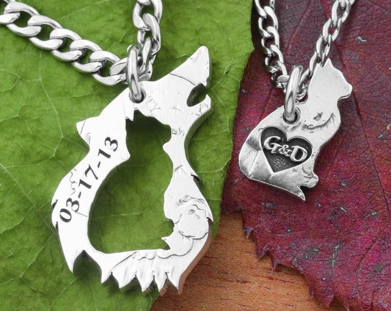 Cat and Howling Wolf Necklaces,  Engraved Custom Date and Initials in a Heart, Pet Jewelry or Couples Gift, Hand Cut Coin