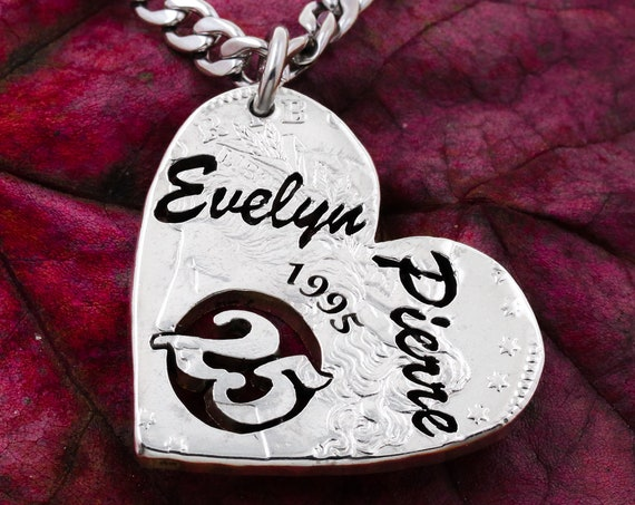 Silver 25 Year Anniversary Date Necklace, Custom Name and 4-Year Date, Romantic Gift, Any Anniversary Year Available, Hand Cut Coin