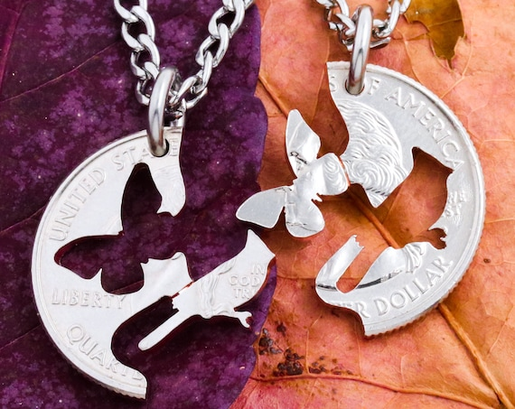 Butterfly and BlueJay BFF Necklace, Interlocking Relationship Sets, Bird and Insect Jewelry, Best Friends Gift, Hand Crafted Cut Quarter