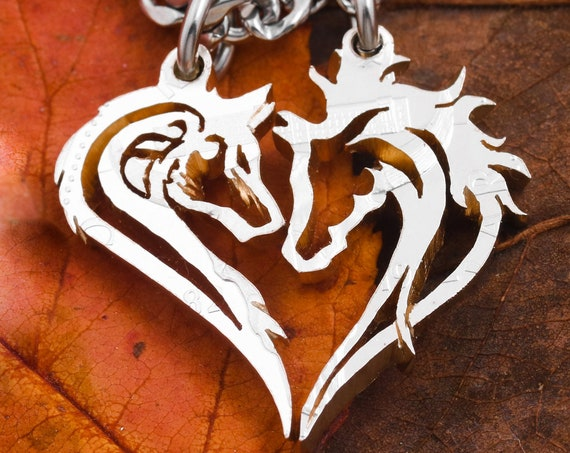 Horse and Wolf Couples Necklaces, Making a Heart, BFF Gifts, Equestrian, Animal Jewelry, Hand Cut Half Dollar