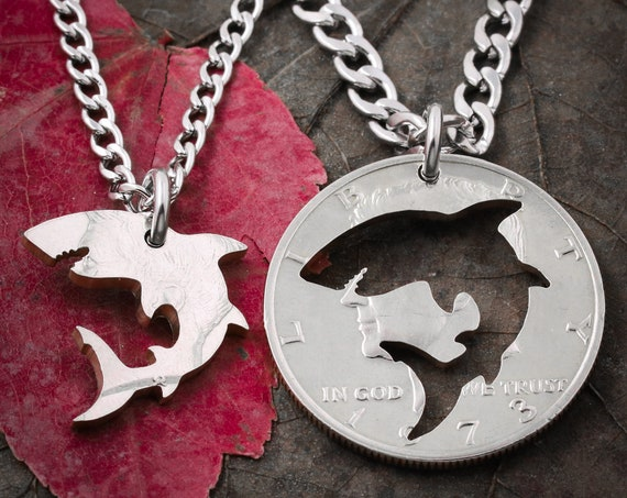 Shark Necklaces, Best Friends and Couples Jewelry, Hand Cut Coin