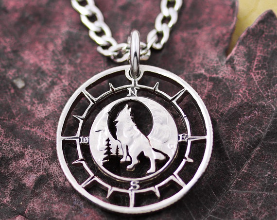 Wolf and Compass Jewelry, Howling Wolf Necklace, Hiking Gift, Boyfriend Gift, Wolf and Moon, Hand Cut Coin