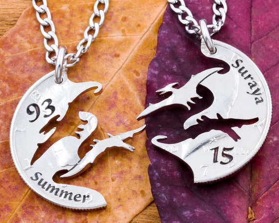 Pterodactyl Dinosaur Necklaces with Custom Engraved Names and Numbers, BFF Split Set, Pterosaur Flying Dinosaur Family, Hand Cut Coin