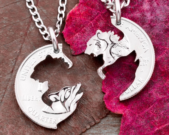 Howling Wolf and Grizzly Bear Necklaces, BFF and Couples Gifts, Engraved Animal Jewelry, Interlocking Hand Cut Coin