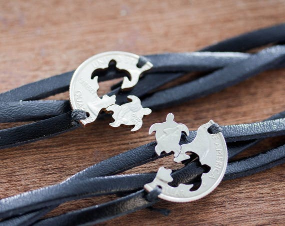 Best Friends Leather Bracelets, Woven and Braided Relationship Bracelets, Turtles That Make a Puzzle, Interlocking Hand Cut Coin