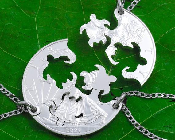 Three Best Friend Turtle Necklaces, 3 BFF Gifts, Friendship Interlocking Jewelry, Hand Cut Coin