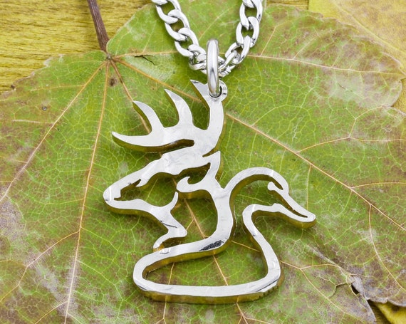 Buck and Duck Hunting Necklaces, Deer and Bird, Hand Made Jewelry, Half Dollar, Hand Cut Coin