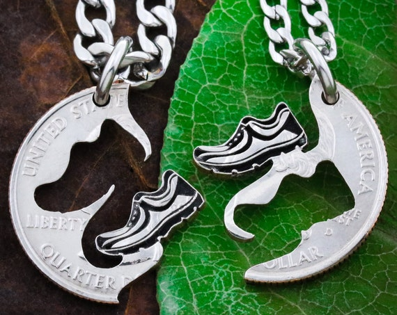 Runner Best Friends Necklaces, Running Shoes Gift, Couples and Relationship, Marathon and Track, Hand Cut Coin