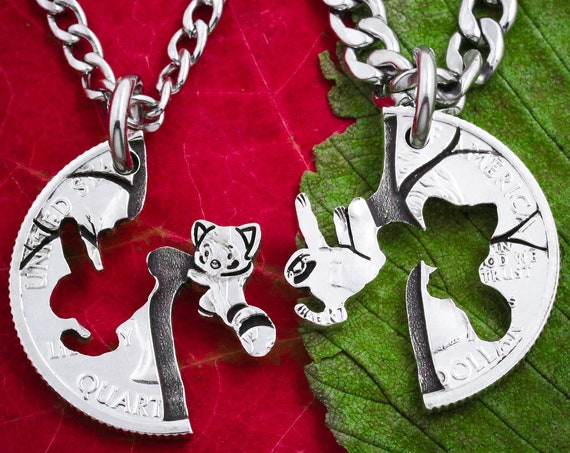 Sloth and Red Panda Friendship Necklaces, Split Necklaces, Hanging Sloth and Panda in Tree, Best Friend Gift, BFF, Animal Jewelry, Cut Coin