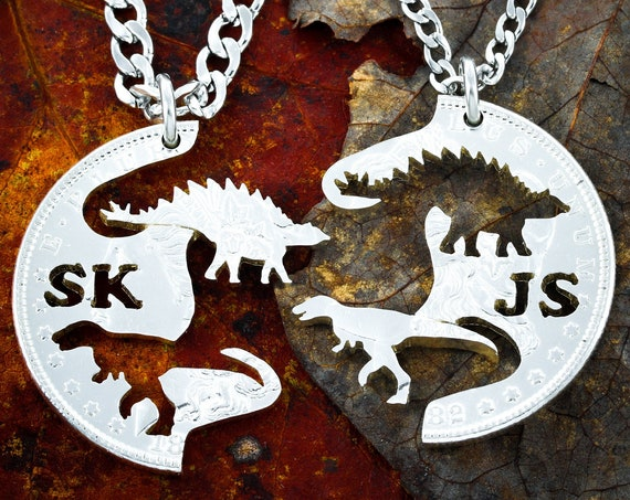 Dinosaurs with Initials, Custom BFF Necklaces, Best Friends Gifts, Raptor and Stegosaurus, Hand Cut on a Quarter