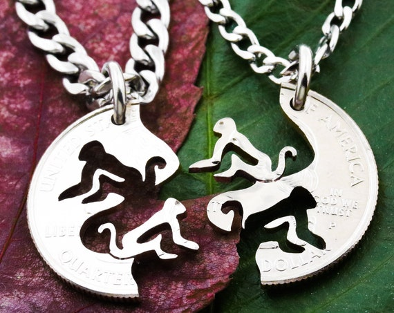 Chimpanzee BFF Necklaces, Couples or Friendship Chimp Jewelry, Monkey Handmade Coin Charm, Hand Cut Coin