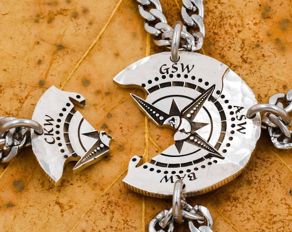 4 Piece Compass Necklace with Engraved Custom Initials, World Compass, Nautical Friends or Family Jewelry, Hand Cut Coin Gift