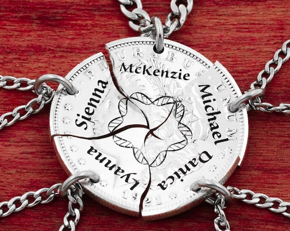 Family DNA Necklaces, Custom Engraved Names, Blood Ties, Parents and Children Jewelry, Hand Cut Coin