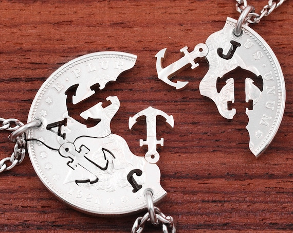 3 Piece Anchors with Initials, Best Friends Necklaces, Custom Monograms, Family Jewelry, Hand Cut Coin