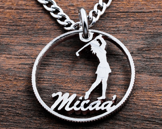 Girl Golfer Jewelry, Personalized Name Golf Ball Marker, Custom Cut, Unique Custom Gift, Golfer Accessory, Hand Cut Coin