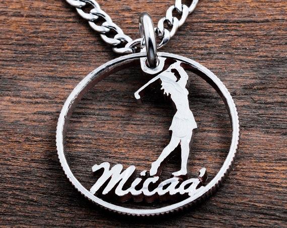 Girl Golfer Jewelry, Personalized Name Golf Ball Marker, Custom Cut, Unique Custom Gift, Golfer Accessory, Hand Cut Coin